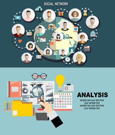 Płaskie stylu szablonu transparentu sieci web dla witryny lub infografiki Globalna sieć społeczną Ilustracje wektorowe