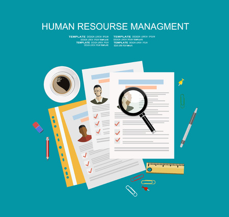 Picture of printed CVs and office accessories: pencils, eraser, magnifying glass, cup of coffee etc, flat style banner design of human resource management concept