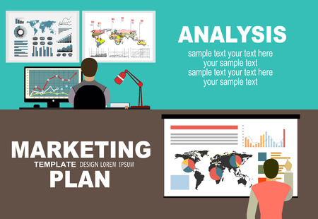 printed work: Flat design illustration concepts for business analysis and planning, consulting, team work, project management, financial report and strategy. Concepts web banner and printed materials.