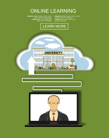 lectures: Vector flat illustration of webinar, online conference, online learning, lectures and training in internet.