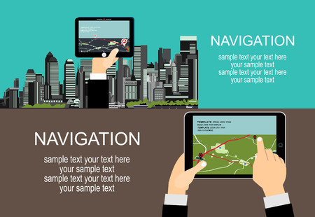 manage transportation: Flat style design of web banner template for website or infographics, mobile navigation GPS system, destination location, spotting and find the right way.