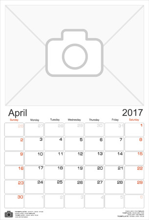 portrait orientation: Wall Monthly Calendar for April 2017 Year. Vector Design Print Template with Place for Photo. Week Starts Sunday. Portrait Orientation.