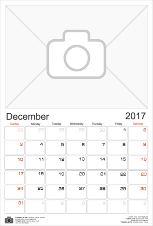 schedulers: Wall Monthly Calendar for December 2017 Year. Vector Design Print Template with Place for Photo. Week Starts Sunday. Portrait Orientation.