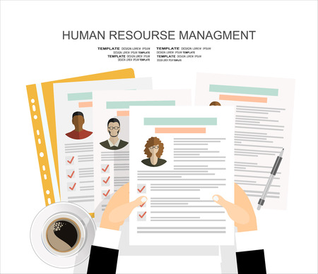 Picture of printed CVs, flat style banner design of human resource management concept Çizim