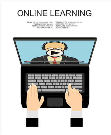 business book: Vector flat illustration of webinar, online conference, online learning, lectures and training in internet.
