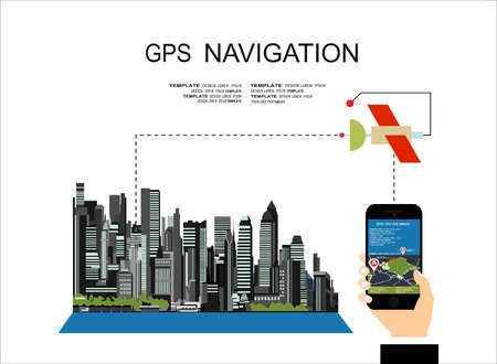 geolocation: Flat style design of web banner template for website or infographics, mobile navigation GPS system, destination location, spotting and find the right way.