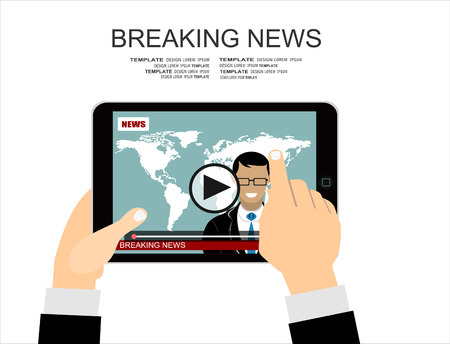 announcer: Flat style banner concept of breaking news with tablet with news announcer in the studio. Illustration