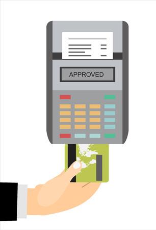 receipt: POS terminal. Terminal printing a receipt. Illustration