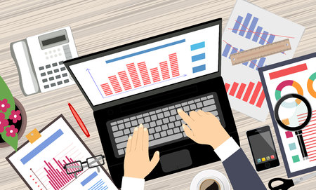 market place: Analysis the Market on Computer. Flat design illustration concepts for business analysis and planning, consulting, project management, financial report and strategy