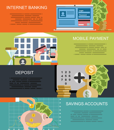 accounts: Mobile payment, internet banking, business, savings accounts flat illustration concepts set. Modern flat design concept for web banners, web sites, printed materials, infographics. Vector illustration