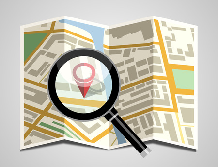 Folded map with magnifying glass Illustration