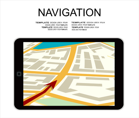Tablet ps with city map gps navigator on screen. Mobile navigation path on the road in city. Flat vector illustration.