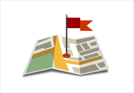 world flags: Vector world map icon with red flags