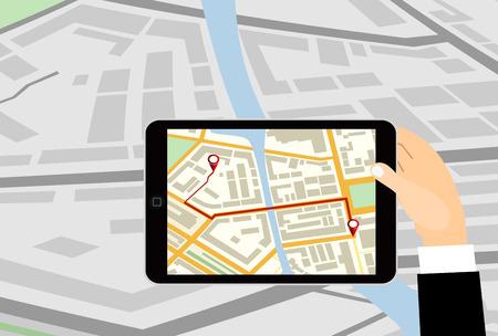 gps navigator: Hand holding tablet pc computer with gps navigator map on screen.