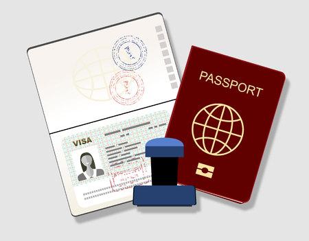 Pasaporte con el sello de visado. Identificación del documento y sello Ilustración Vector plana Foto de archivo - 60564592