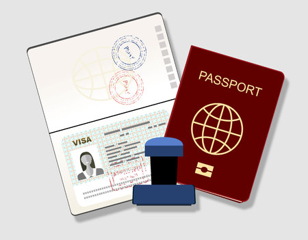 Passeport avec visa timbre. Document d'identification et cachet Vector Flat Illustration