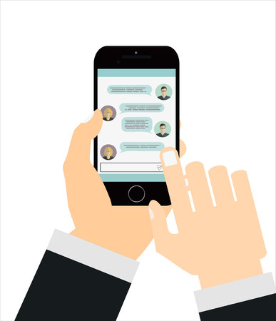 texting: Texting app on smartphone screen. Messaging service. Hand holds smartphone, finger touch screen. Modern concept for web banners, web sites, infographics. Creative flat design vector illustration