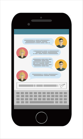 gprs: Texting app on smartphone screen. Messaging service. Modern concept for web banners, web sites, infographics. Creative flat design vector illustration