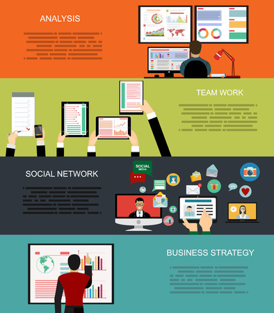 employment agency: Set of flat design illustration concepts for business, finance, consulting, management, human resources, social network, employment agency, staff training, money, technology, navigation.