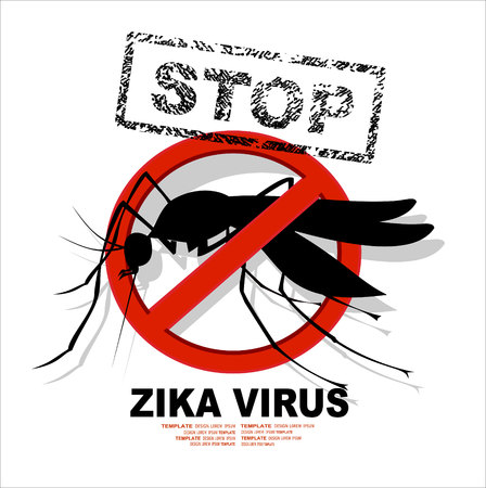 Caution of mosquito icon, spread of zika and dengue virus. Stop mosquito