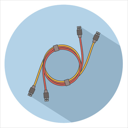 umbilical: USB cable Icon Flat. Vector. Long Shadow