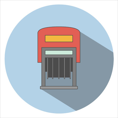 qualify: Stamp icon vector. Long Shadow Illustration