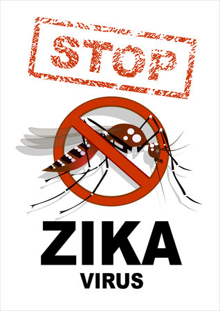 spread: Caution of mosquito icon, spread of zika and dengue virus. Stop mosquito.