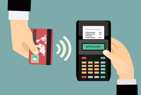 nfc: Pos terminal confirms the payment by debit credit card. Vector illustration in flat design. nfc payments concept