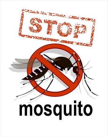 dengue: Caution of mosquito icon, spread of zika and dengue virus. Stop mosquito.