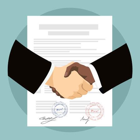 Dos apretón de manos de negocios en papeles del contrato después de acuerdo. ilustración vectorial en estilo plano. Ilustración de vector
