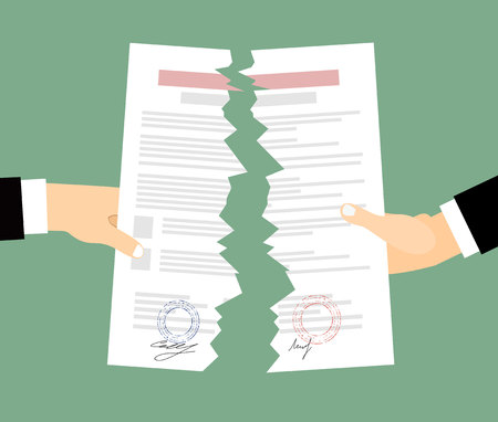 oppose: Two bussines men Hands tearing apart a contract sheet of paper. Flat style
