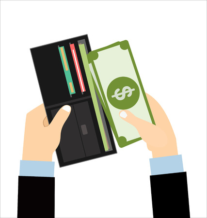 putting: Human hands putting cash dollars into opened black leather men wallet with credit cards. vector illustration in flat design Illustration
