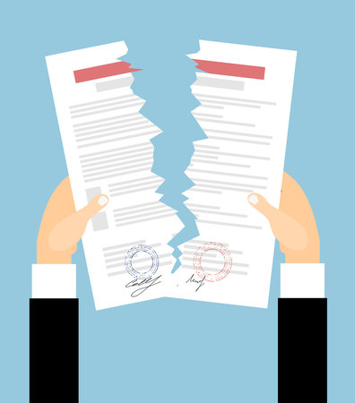 apart: Businessman hands tearing apart contract. Contract termination concept. vector illustration in flat design