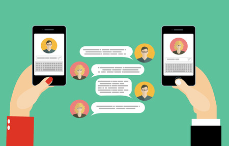 messenger: Messaging service.Sms messenger. Speech bubbles. Modern concept for web banners, web sites, infographics. Creative flat design vector illustration Illustration