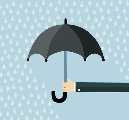 weatherproof: Hand of man holding an umbrella under rain. Flat design vector illustration