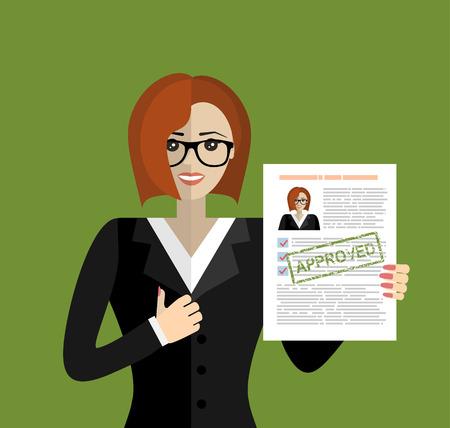Hand met CV en stempel met Goedgekeurd. Gelukkige vrouwen hebben een baan. Human Resources Management-concept, zoeken naar professionele medewerkers, analyseren van cv-documenten, werken. illustratie in flat