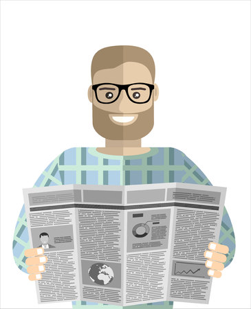 Man reader Newspapers. Flat design style.