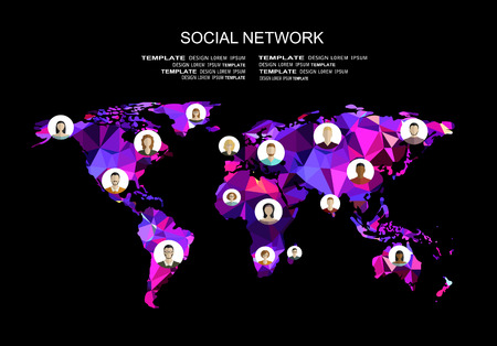 Global social network abstract scheme.