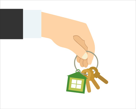 home owner: Vector real estate concept in flat style - hand giving keys - sell house icon