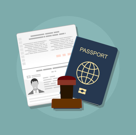 emigration: Passport with biometric data. Identification Document and stamp Flat Vector Illustration