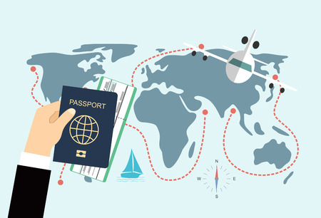 documentation: Passport Hand Travel Document Vacation Trip Booking Air Plane Flight World Map Flat Vector Illustration