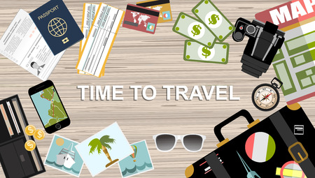 adventurer: Abstract vector illustration with set of icons traveler objects for tourism. Flat design style. Tourism, travel objects: map, compass, camera, suitcase, tickets, passport, binoculars. Travel concept.