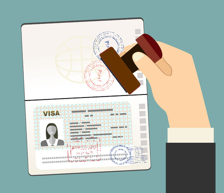 Visa Stamp Passport. Hand puts a stamp in the passport with a mark approved. travel document. vector illustration in flat design
