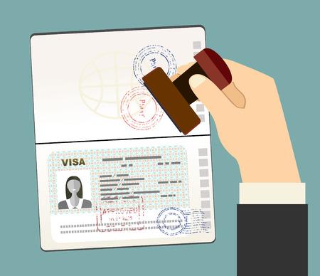 Visa Stamp paszport. Ręcznie stawia pieczątkę w paszporcie ze znakiem homologacji. dokument podróży. ilustracji wektorowych w płaskiej konstrukcji