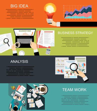 tehnology: Set of flat design illustration concepts for business, finance, consulting, management, human resources, career, employment agency, staff training, money, technology, startup, creative.