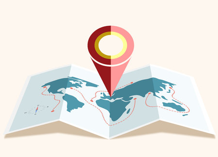 Vector map of the world with Pin Pointer