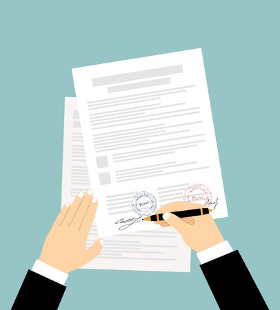 signing: Hands of businessman are signing the contract. Vector illustration in flat design Illustration