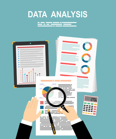 Analyzes data. Analysis concept, flat design. Process research financial growth, statistics, data analysis, document, market, strategic, report. Development Planning. Vector
