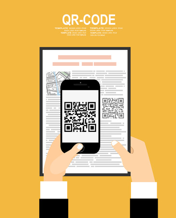 barcode scan: hand with mobile phone scanning QR code. Electronic scan, digital technology, barcode. Vector illustration in flat design