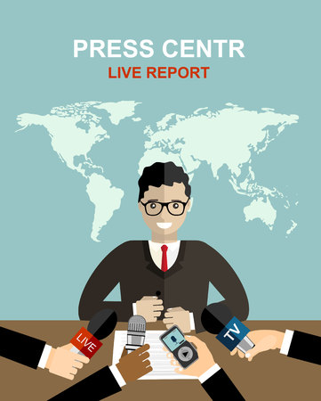 press conference: Press conference, world live tv news, interview. hands of journalists with microphones. vector illustration in flat style on blue background with world map Illustration